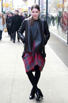 11 Ways To Wear A Skirt During Winter -- leather jacket, plaid skirt, tights & ankle boots #style #fashion #streetstyle