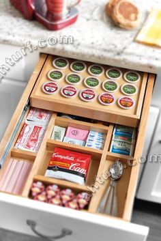 Soft-Close two Tiered Keurig K-Cup Drawer for 18 Inch Cabinet with storage for all your hot beverage supplies, Tea, Stir sticks, sugar packets, coffee creamers, kcups, hot cocoa packets and more.