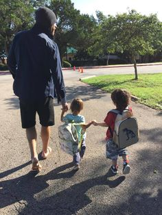 """""""So, I start my """"real job"""" in 6 days....But, I gotta say. My FAVORITE """"job"""" is being a daddy to these two little munchkins... and their dinosaur backpacks smile emoticon. I'm gonna miss walking them to school :("""" - Jared on FB"""