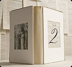 use framed pictures of you, your groom and/or your families grouped with candles as centerpieces on each guest table