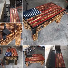 Diy Wooden Projects, Woodworking Projects Diy, Wooden Diy, Wood Crafts, Diy Pallet Furniture, Rustic Furniture, Rustic Wooden American Flag, American Flag Art, Wood Table Design