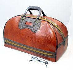 60s Gym Bag Sports Carryon Tote or School Bag Brown by ModPropShop, $65.00