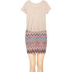 Lined chevron mini skirt