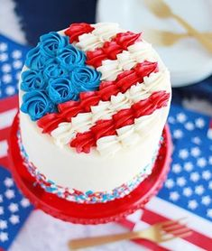 Chocolate Cake with Whipped Peanut Butter Buttercream - Baking with Blondie Fourth Of July Cakes, 4th Of July Desserts, Fourth Of July Food, July 4th, Fancy Cakes, Mini Cakes, Cupcake Cakes, Chocolate Raspberry Cake, Dark Chocolate Cakes