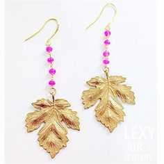 Pink #Chalcedony & #Gold Leaf #Earrings @ LEXYAiR I.N.C. JEWELRY ... Summer #StyleMustHave