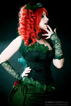 Poison ivy: green corset, lace gloves, ivy leave sawn onto leggings and corset!!!