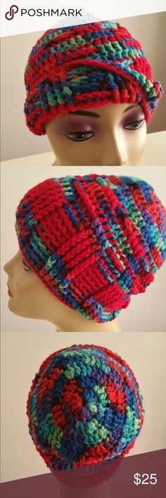 Crochet Hat This beautiful nice thick crochet toboggan was made by me in its making I learned a new stitch which I made it into my own design pattern which displayed in this hat. I made a couple of this style toboggan but each one has a featured color. The stitches are very close to one another to give you a much need warming in the coldest winter. Accessories Hats
