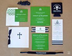 preppy navy and green wedding invite suite @myweddingdotcom