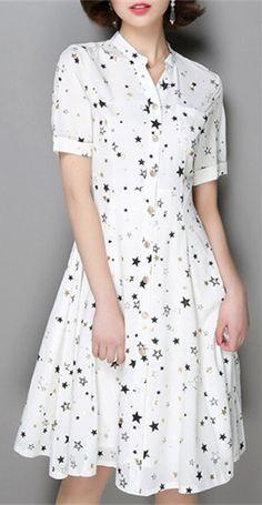 Women's Stylish V-Neck Short Sleeve Star Print Dress Modest Fashion, Fashion Dresses, Frocks And Gowns, Elegant Dresses For Women, Girls Dresses, Summer Dresses, Business Dresses, Kurta Designs, White Fashion
