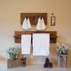Rustic towel rack reclaimed towel hanger with 2 by TumbleweedCabin
