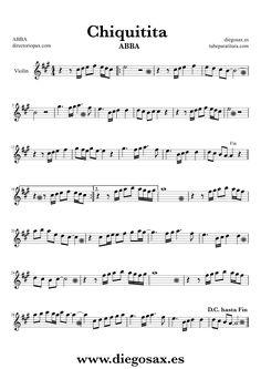 Partitura de Chiquitita para Trompeta y Fliscorno ABBA Sheet Music Trumpet and Flugelhorn Music Scores Chiquitita Jazz Sheet Music, Saxophone Sheet Music, Violin Music, Piano Songs, Music Tabs, Music Notes, Trumpet Music, Oboe, Trombone