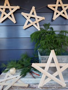 Easy Rustic Wooden Star Garland, made from shims, from Number Fifty-Three.
