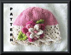 Knitting Pattern for Baby Hat-Children Clothing-Lace Cloche-Hand Knitted BABY HAT PATTERN in Pink and Ivory - Pretty in Pink