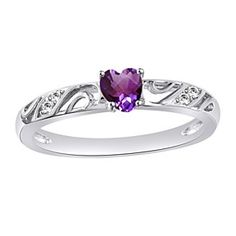 Heart Shaped Amethyst And Accent Promise Ring In Sterling Silver by JewelryHub on Opensky