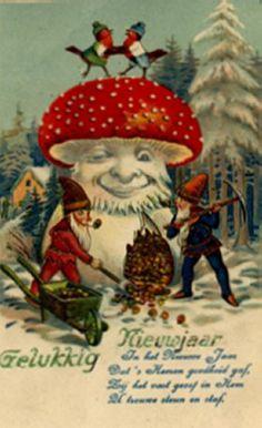 Antique vintage gnome anthropomorphic mushroom postcard
