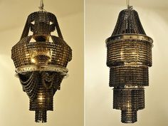 traditional shapes with a gritty yet elegant look.  Made out of bike parts.  Spectacular.