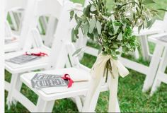 We love this color scheme done by one of our brides at the Phillippi Estate. You can use our sister company, Milan Catering, for any of your chair needs for your ceremony!
