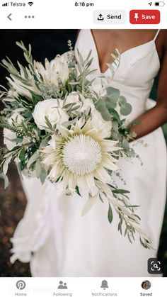 Wedding flower trends 20 Protea wedding bouquets - wedding flowers and . - Wedding flower trends 20 Protea wedding bouquets – wedding flowers and color scheme – - Protea Bouquet, Bouquet Flowers, White Dahlia Bouquet, Protea Flower, Protea Wedding, White Wedding Bouquets, Floral Wedding, Boho Wedding, Dream Wedding