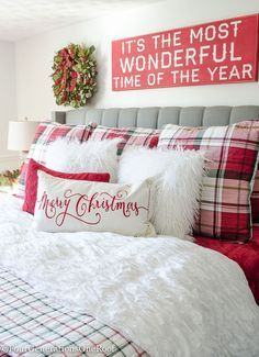 Plaid Christmas Bedroom / Featuring white walls, Red Plaid Bedding and a full spruce Christmas tree. How to decorate a white and red Christmas bedroom.