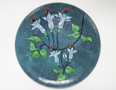 Vintage Enamel Copper Dish  7 inch Chile stamped catchall