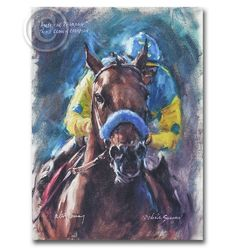 Portrait of American Pharoah. Portrait of Triple Crown Winner by renowned equestrian artist Celeste Susany. Available in a variety of sizes on both paper and canvas.