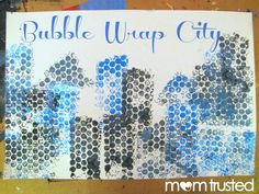 Make a Bubble Wrap Cityscape by using this printmaking technique.