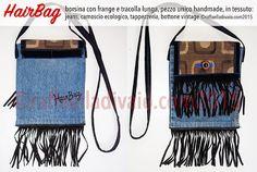 """ZigZag! La nuovissima nata di oggi è """"HairBag""""! Una borsina vintage in jeans con tracolla lunga e frange in camoscio ecologico, tessuto di tappezzeria e bottone: tutto vintage originale, rielaborato per realizzare HairBag.  Ritagli di stoffe, bottoni, nastri e fettucce, fili da ricamo, dipinto a mano. E' la nuova produzione delle borsine in tessuto, tutte pezzi unici rigorosamente handmade. ©raffaelladivaio.com"""