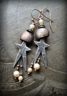 Stars, Inviciti, Pewter Charms, Vintage Glass, Copper Buckets, Moons, Shooting Starts, Beaded Earrings by YuccaBloom on Etsy