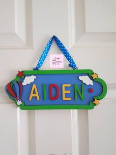 Room Door Decorations Name 44 Trendy Ideas Cloud Nursery Decor, Clouds Nursery, Nursery Signs, Nursery Room Decor, Wall Decor, Kids Door Signs, Wooden Door Signs, Balloon Wall, Balloons