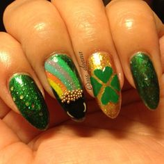 """72 Likes, 7 Comments - Bella Donna (@ms_donna) on Instagram: """"St. Paddy's Day nails. Colors used were Sinful Colors """"San Francisco"""", """"Green Ocean"""", OPI…"""""""