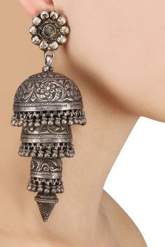 Zevar by Geeta presents Sterling silver triple layer statement earrings available only at Pernia's Pop Up Shop. Indian Jewelry Earrings, Silver Jewellery Indian, Silver Jewelry, Silver Ring, Silver Earrings, Silver Bracelets, Silver Jhumkas, Jhumki Earrings, Hand Jewelry