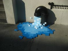 This is a brilliant combination of pixel art and street art.