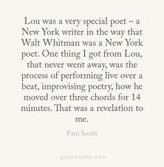 Patti Smith on Lou Reed, 2013-10-29.