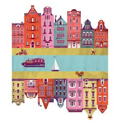 Cover illustration of Amsterdam for 'Hemispheres', United Airlines' inflight magazine. By Lotta Nieminen