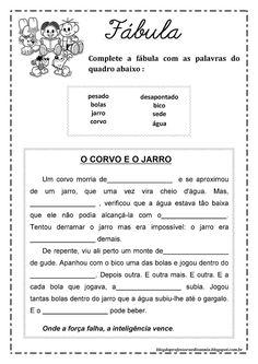 Blog da professora Edivania: FÁBULAS PARA COMPLETAR