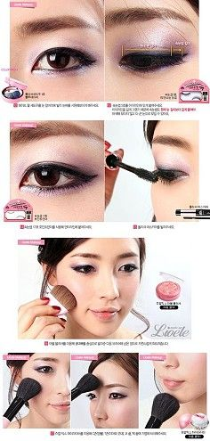 Korean beautiful eye makeup. I don't know what they are saying but that look is adorable