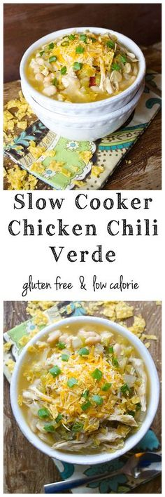 Slow Cooker Chicken Chili Verde - This super easy soup is gluten free and low…