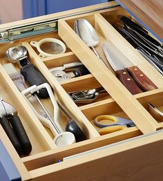 Keep items from rattling around inside drawers by adding an insert or drawer divider that maintains order so you quickly spot what you need. Fit small containers between dividers when you have especially tiny objects to corral./