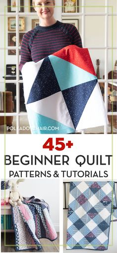45 + Free quilt patterns for beginning quilters. Learn how to quilt with these cute ideas. Easy quilt patterns and tutorials to get you started as a new quilter. Learn how to make a quilt. Free beginner quilt patterns and tutorials. Quilting For Beginners, Sewing Projects For Beginners, Quilting Tips, Quilting Tutorials, Quilting Projects, Sewing Tutorials, Free Tutorials, Beginner Quilting, Easy Quilt Patterns