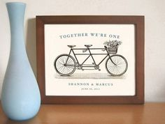 Personalized Unique Wedding Gift,  Art Print, Tandem Bike, Bridal Shower,  Gift for Couples