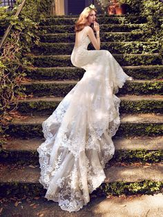 Maggie Sottero - ZAMARA, Double-down on the double train effect with this fitted sheath wedding gown in lace and illusion. Everything else is just extra bonus from there.