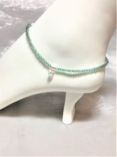 Crystal AB Butterfly & Lt. Turquoise Luminous Green SS Anklet #570 by WestJewelryDesigns on Etsy