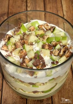 Have you ever had Apple Snickers Dessert Salad? It's sooooo good – a definite crowd favorite. And, I like to think it's a slightly healthier.dessert since it's chock-full of apples . Another bonus is that it is super easy to make & no bake.  it only uses 5 ingredients! You just need a large box of instant vanilla pudding (& milk), green apples, Snickers candy bars, and Cool Whip! With just a little chopping and mixing, it comes together in 10 minutes or less!