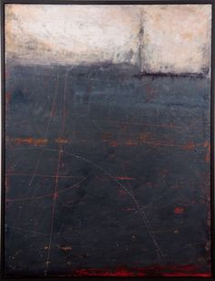 "Graceann Warn, Navigating at Night, 2013 41"" x 31 "" x 1.5 "" Oil, encaustic and paper on wood panel"
