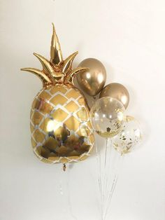 Items similar to Gold Pineapple Balloon Pineapple Party Bridal Shower Summer Party Gold Pineapple Party Tropical Bachelorette Baby Gold Chrome Balloons on Etsy Backyard Bridal Showers, Summer Bridal Showers, Tropical Bridal Showers, Gold Bridal Showers, Tropical Party, Bridal Shower Decorations, Birthday Decorations, Decoration Communion, Jumbo Balloons