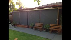 Outdoor Blinds on a crank system for easy operation. Great in winter and summer stopping any wind or heat. Privacy all year round without blocking your view. Option can come in full blackout fabric. Blinds are all custom made to suit your veranda/alfresco area. Find us on FB