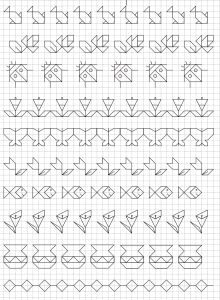 Reproduction Sur Quadrillage - Vase Motifs Blackwork, Blackwork Embroidery, Cross Stitch Embroidery, Graph Paper Drawings, Graph Paper Art, Cross Stitch Borders, Cross Stitching, Cross Stitch Patterns, Bullet Journal Art