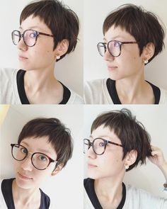 めがねショート  #ショートカット #ショートヘア #ハイライト #めがね #ドライカット #アン  #アングル  #高岡市美容室 #小さな美容室  #マンツーマンサロン #美容師 Baddie Hairstyles, Retro Hairstyles, Formal Hairstyles, Ponytail Hairstyles, Black Women Hairstyles, Hairstyles With Bangs, Wedding Hairstyles, Asian Hair, Short Hair Cuts