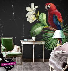Vintage wallpaper illustration of tropical flowers and a parrot  $375 etsy  3m x 2m approx