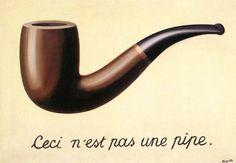 René Magritte - Ceci n'est pas une pipe, 1929.  TECHNIQUE DISTANCIÉE: Décalage (objet, image, temps.. en les unissant!).  Ici il met en avant la vérité première que l'illusionnisme n'est pas la réalité.